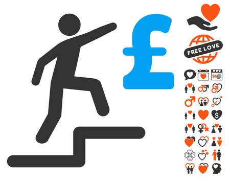 upstairs: Pound Business Steps pictograph with bonus passion pictures. Vector illustration style is flat iconic elements for web design, app user interfaces. Illustration