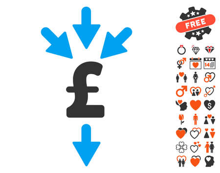 takings: Pound Combine Payments icon with bonus lovely clip art. Vector illustration style is flat iconic elements for web design, app user interfaces. Illustration