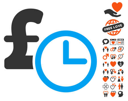 timed: Pound Credit pictograph with bonus decorative images. Vector illustration style is flat iconic elements for web design, app user interfaces. Illustration