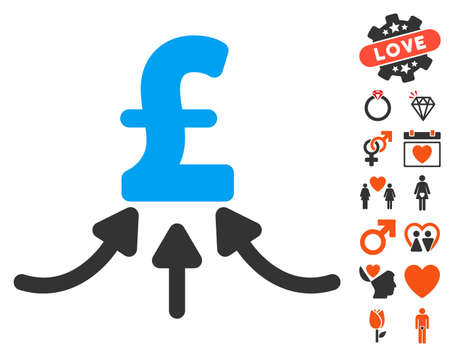 takings: Pound Financial Accumulator pictograph with bonus amour design elements. Vector illustration style is flat iconic elements for web design, app user interfaces.