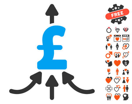 Pound Financial Aggregator pictograph with bonus lovely pictures. Vector illustration style is flat iconic symbols for web design, app user interfaces.