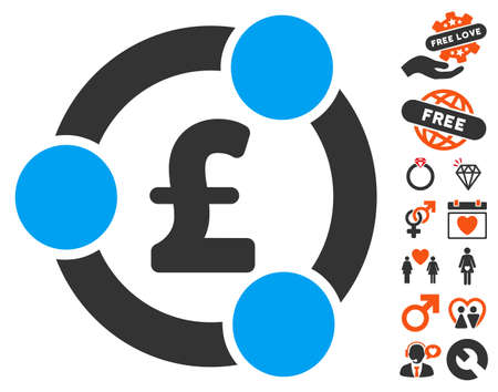 Pound Financial Collaboration pictograph with bonus amour images. Vector illustration style is flat iconic symbols for web design, app user interfaces. Illustration