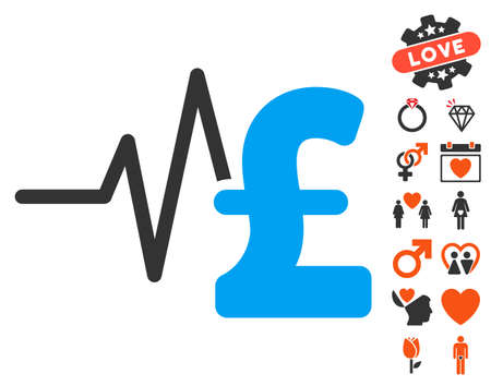 Pound Financial Pulse icon with bonus marriage symbols. Vector illustration style is flat iconic symbols for web design, app user interfaces.