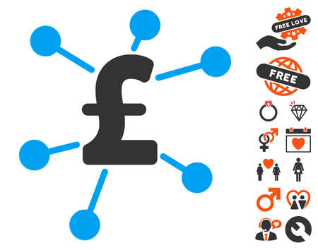 Pound Links pictograph with bonus marriage images. Vector illustration style is flat iconic elements for web design, app user interfaces. Illustration