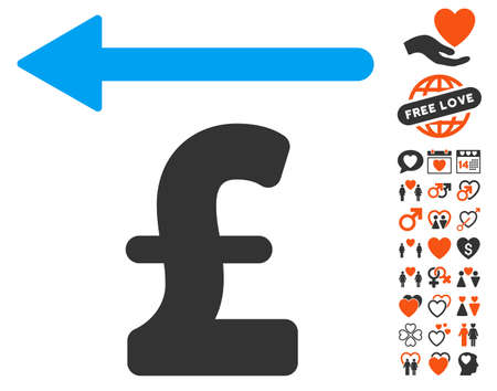 Pound Moneyback icon with bonus marriage pictograph collection. Vector illustration style is flat iconic elements for web design, app user interfaces.