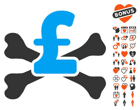 mortal: Pound Mortal Debt pictograph with bonus lovely images. Vector illustration style is flat iconic elements for web design, app user interfaces. Illustration