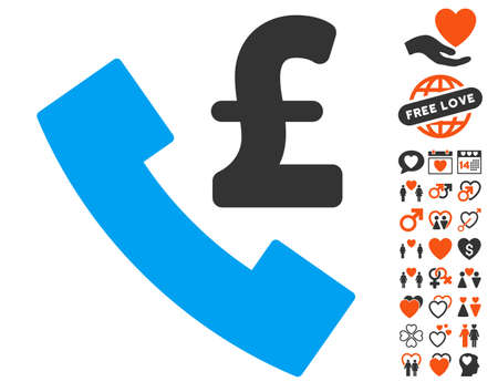 payphone: Pound Payphone pictograph with bonus decorative symbols. Vector illustration style is flat iconic symbols for web design, app user interfaces.