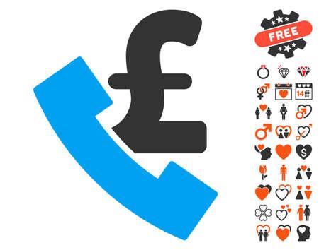 Pound Payphone icon with bonus valentine design elements. Vector illustration style is flat iconic symbols for web design, app user interfaces.