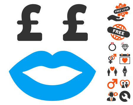 Pound Prostitution Smiley icon with bonus dating symbols. Vector illustration style is flat iconic symbols for web design, app user interfaces.