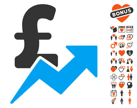 Pound Sales Growth icon with bonus dating pictograms. Vector illustration style is flat iconic symbols for web design, app user interfaces.