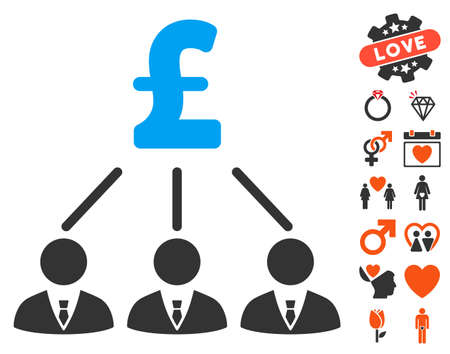 Pound Shareholders pictograph with bonus romantic symbols. Vector illustration style is flat iconic elements for web design, app user interfaces.