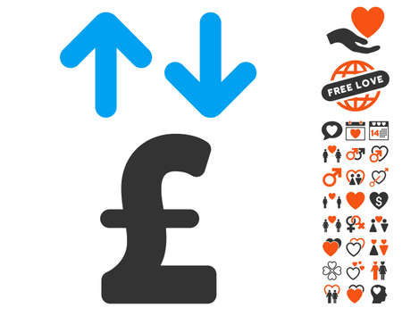 transactions: Pound Transactions icon with bonus lovely icon set. Vector illustration style is flat iconic elements for web design, app user interfaces. Illustration