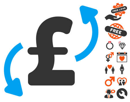 Pound Transfers icon with bonus romantic pictures. Vector illustration style is flat iconic symbols for web design, app user interfaces.