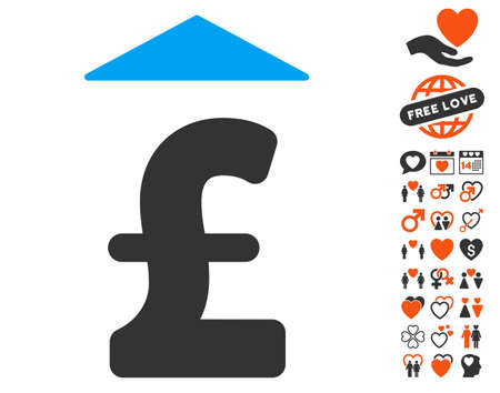 Pound Up icon with bonus decorative pictograms. Vector illustration style is flat iconic symbols for web design, app user interfaces. Illustration