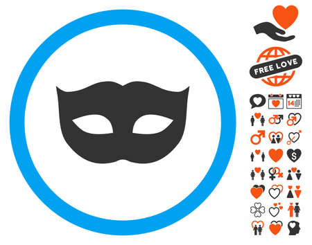 Privacy Mask pictograph with bonus love icon set. Vector illustration style is flat iconic elements for web design, app user interfaces.