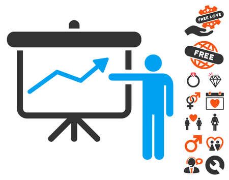 Project Presentation pictograph with bonus dating symbols. Vector illustration style is flat iconic symbols for web design, app user interfaces. Illustration