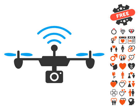 Radio Camera Airdrone icon with bonus romantic icon set. Vector illustration style is flat iconic elements for web design, app user interfaces.