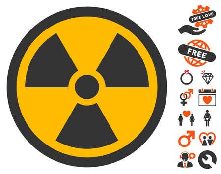 Radioactieve pictogrammen met bonus huwelijk illustraties. Vector illustratie stijl is plat iconische symbolen voor webdesign, app gebruikersinterfaces. Stockfoto - 71354384