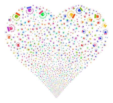 Alarm fireworks with heart shape. Vector illustration style is flat bright multicolored iconic symbols on a white background.