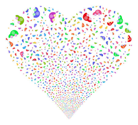 Ambulance Car fireworks with heart shape. Vector illustration style is flat bright multicolored iconic symbols on a white background.