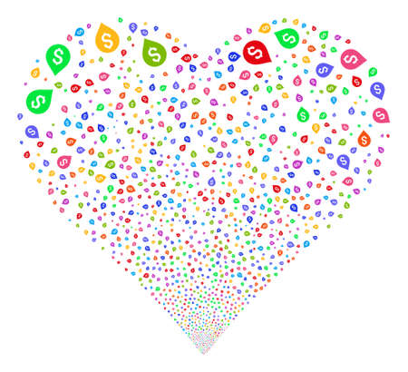 Banking Map Marker fireworks with heart shape. Vector illustration style is flat bright multicolored iconic symbols on a white background. Illustration