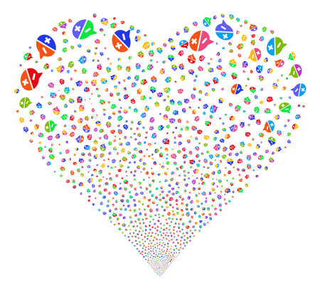 Arguments fireworks with heart shape. Vector illustration style is flat bright multicolored iconic symbols on a white background.