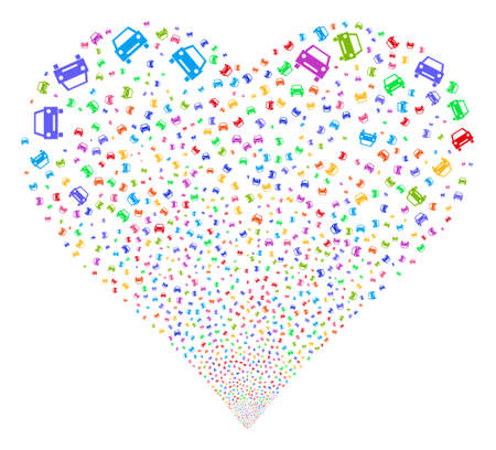 Car fireworks with heart shape. Vector illustration style is flat bright multicolored iconic symbols on a white background.