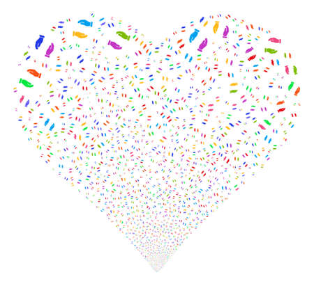 Care Hands fireworks with heart shape. Vector illustration style is flat bright multicolored iconic symbols on a white background.