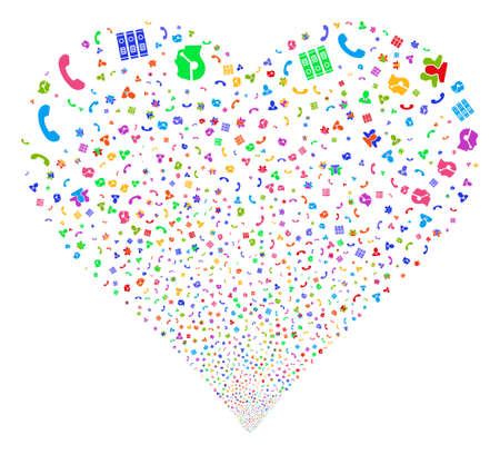 Call Center Symbols fireworks with heart shape. Vector illustration style is flat bright multicolored iconic symbols on a white background.