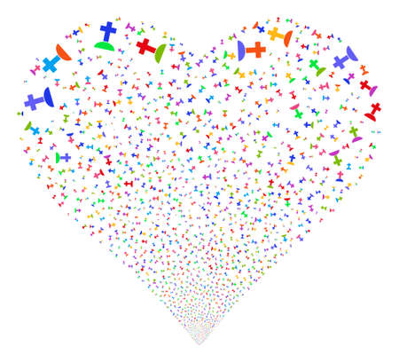 Cemetery fireworks with heart shape. Vector illustration style is flat bright multicolored iconic symbols on a white background. Illustration