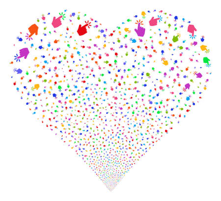 Click fireworks with heart shape. Vector illustration style is flat bright multicolored iconic symbols on a white background.
