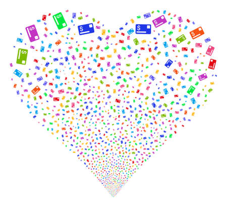 Credit Card fireworks with heart shape. Vector illustration style is flat bright multicolored iconic symbols on a white background. Object love heart organized from confetti icons.