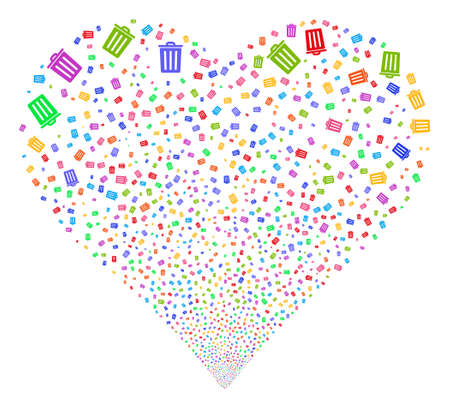 Dustbin fireworks with heart shape. Vector illustration style is flat bright multicolored iconic symbols on a white background. Object salute organized from confetti pictograms. Illustration