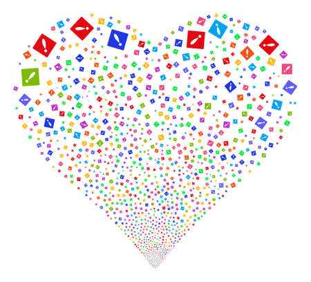 explosion hazard: Error fireworks with heart shape. Vector illustration style is flat bright multicolored iconic symbols on a white background. Object stream constructed from confetti icons. Illustration