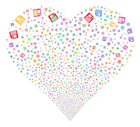 Floppy Disk fireworks with heart shape. Vector illustration style is flat bright multicolored iconic symbols on a white background. Object salute made from scattered pictographs. Illustration