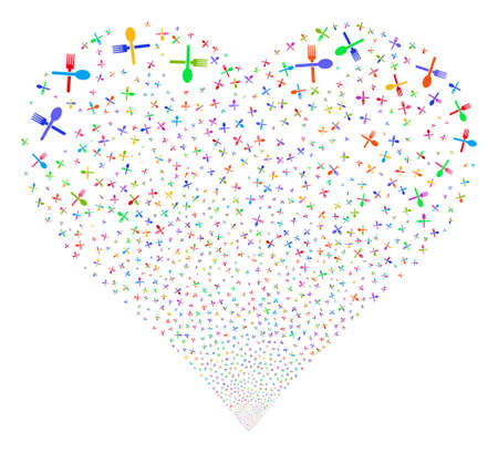 flatwares: Fork And Spoon fireworks with heart shape. Vector illustration style is flat bright multicolored iconic symbols on a white background. Object love heart done from scattered pictographs.