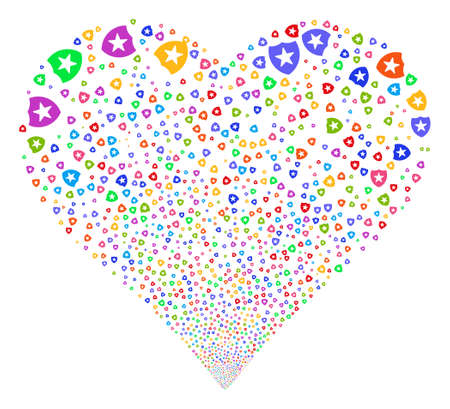 Guard fireworks with heart shape. Vector illustration style is flat bright multicolored iconic symbols on a white background. Object love heart made from scattered pictographs.