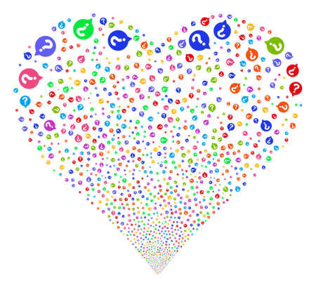 Help Balloon fireworks with heart shape. Vector illustration style is flat bright multicolored iconic symbols on a white background. Object love heart combined from scattered pictographs.