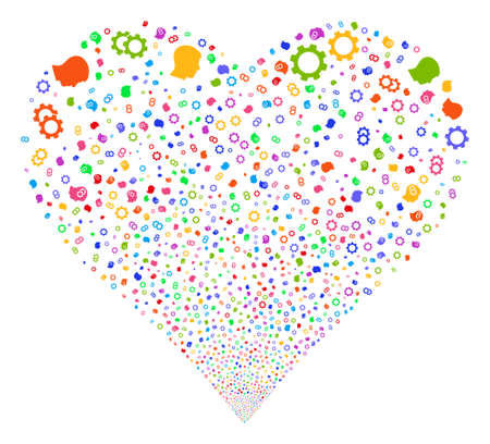 Intellect Gears fireworks with heart shape. Vector illustration style is flat bright multicolored iconic symbols on a white background. Object love heart created from random pictographs.