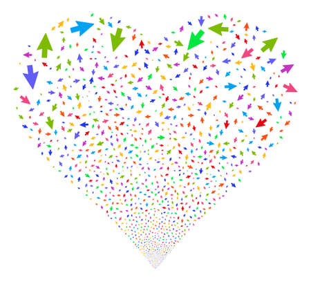 Mouse Cursor fireworks with heart shape. Vector illustration style is flat bright multicolored iconic symbols on a white background. Object stream done from scattered pictographs. Illustration