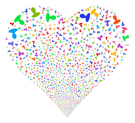 Person fireworks with heart shape. Vector illustration style is flat bright multicolored iconic symbols on a white background. Object valentine heart constructed from random icons.