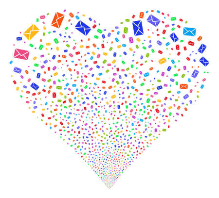 Mail Envelope fireworks with heart shape. Vector illustration style is flat bright multicolored iconic symbols on a white background. Object love heart organized from confetti icons.