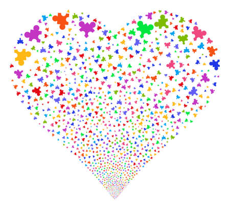 Plugin fireworks with heart shape. Vector illustration style is flat bright multicolored iconic symbols on a white background. Object valentine heart made from scattered icons. Illustration