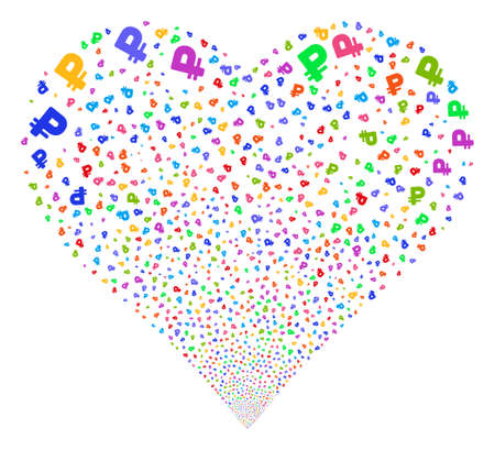 Rouble fireworks with heart shape. Vector illustration style is flat bright multicolored iconic symbols on a white background. Object love heart created from scattered symbols.