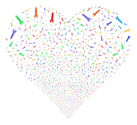 Spanner fireworks with heart shape. Vector illustration style is flat bright multicolored iconic symbols on a white background. Object heart combined from random pictographs.