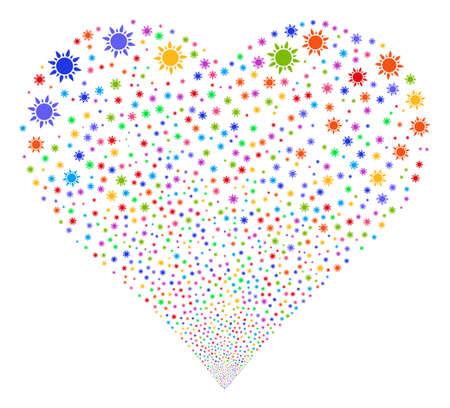 Fuegos artificiales de sol con forma de corazón. El estilo del ejemplo del vector es símbolos icónicos multicolores brillantes planos en un fondo blanco. Corazón de objeto hecho de símbolos aleatorios. Ilustración de vector