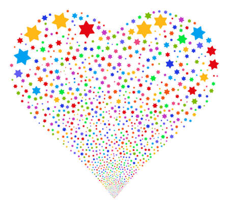 Six Pointed Star fireworks with heart shape. Vector illustration style is flat bright multicolored iconic symbols on a white background. Object valentine heart combined from confetti pictograms. Illustration