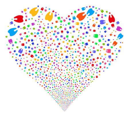 Tooth fireworks with heart shape. Vector illustration style is flat bright multicolored iconic symbols on a white background. Object valentine heart done from scattered pictograms.