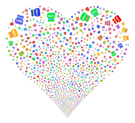 explosion hazard: Toxic Rubbish fireworks with heart shape. Vector illustration style is flat bright multicolored iconic symbols on a white background. Object salute combined from confetti pictograms.