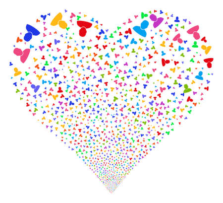 salute: User fireworks with heart shape. Vector illustration style is flat bright multicolored iconic symbols on a white background. Object valentine heart organized from scattered icons.